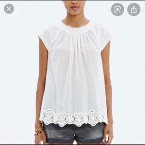 Madewell White Eyelet-Hem Stitched Peasant Top M